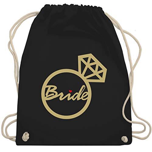 JGA Junggesellenabschied Frauen - Bride - Diamantring - Unisize - Schwarz - rucksack bride - WM110 - Turnbeutel und Stoffbeutel aus Baumwolle