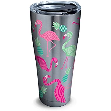 Tervis 1261330 Flamingo Pattern Stainless Steel Tumbler with Clear and Black Hammer Lid 30oz, Silver