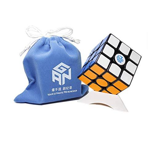 OJIN Ganspuzzle GAN 356 Air SM 3x3 Cubo de Velocidad Magnética Cubo Puzzle con Un Cubo de Trípode y Bolsa de Cub (Negro)