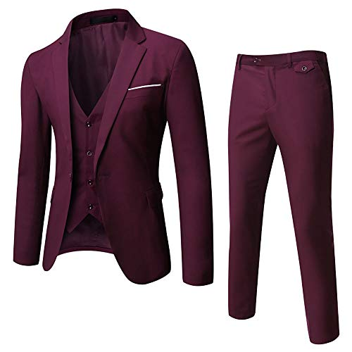 WULFUL Men's Suit Slim Fit One Button 3-Piece Suit Blazer Dress Business Wedding Party Jacket Vest & Pants Dark Red