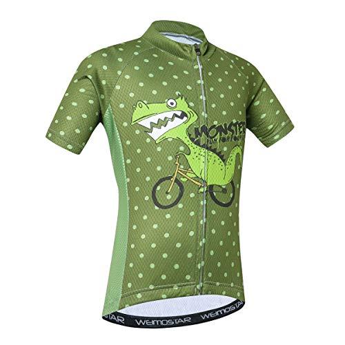 Kinder-Fahrradtrikot für Jungen und Mädchen, kurzärmelig - Grün - L(Height 120-129cm)
