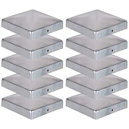 10 x Pfostenkappe für Zaunpfosten (111x111 mm) | Verzinktem Stahl | Pyramiden Form | Abdeckkappe für Holzpfosten VIIRKUJA