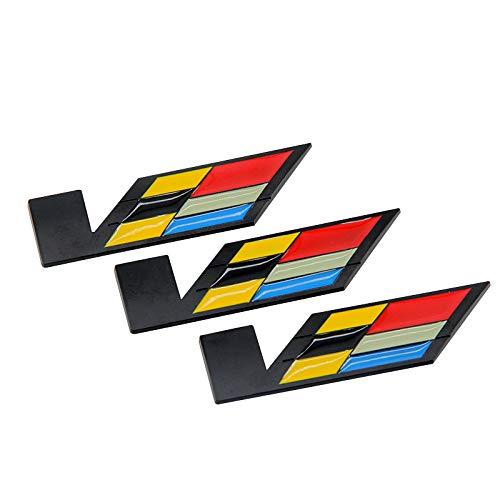 3pcs 3D Trunk Fender V SERIES Emblem Badge Decal fit for Cadillac CTS ATS XLR SLS (Black)