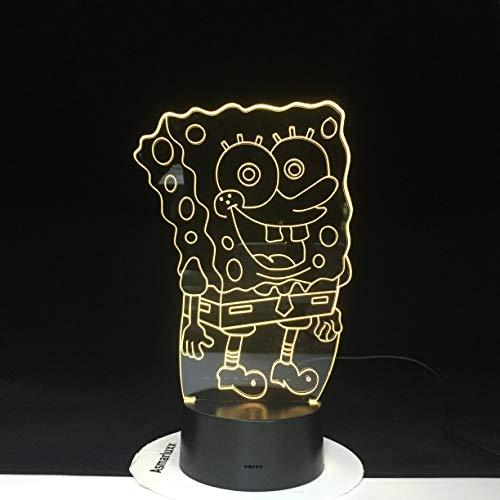 jiushixw 3D acryl nachtlampje met afstandsbediening van kleur veranderende tafellamp Spongebob Kids kinderkamer animatie voor baby Cool Jasmine tafellamp