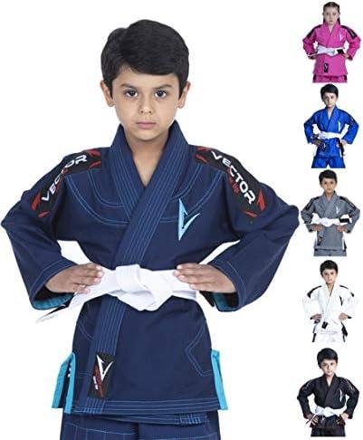 Vector Sports Kids Brazilian Jiu Jitsu BJJ Gi with Free White Belt 100 Cotton Pearl Weave Kimono product image