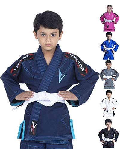 Vector Sports Kinder-Kimono, brasilianischer Jiu Jitsu, BJJ Gi, mit weißem Gürtel, 100 % Baumwolle, Perlgewebe, ultraleicht, sanforisierter Stoff (Marineblau, K2)