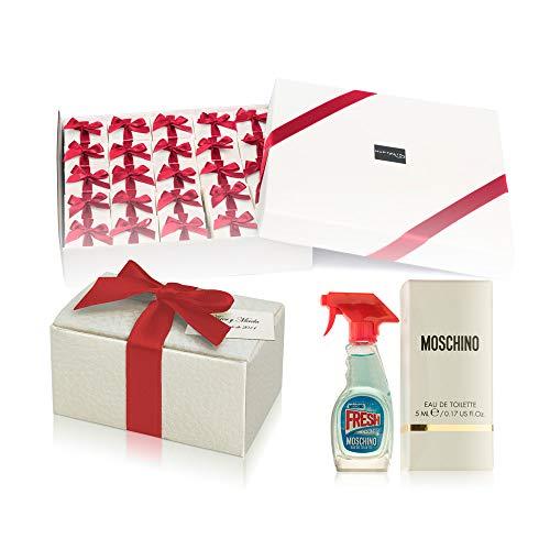 Pack 24 perfumes miniaturas originales de mujer como detalles para bodas colonias Moschino Fresh Eau de toilette 5 ml. personalizados para regalar invitados primera comunión y bautizo