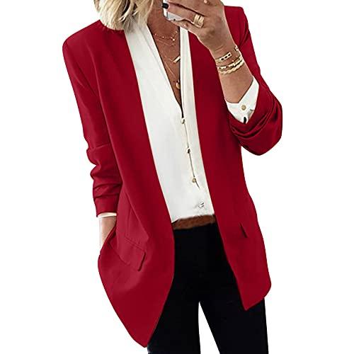 YANFANG Traje De Chaqueta, Bolsillos Delgados Moda para Mujeres,Blazer Color Liso Casual Abrigos Mujer SóLido Manga Larga Chaqueta Slim Cardigan Blazer Abrigo-Rojo-S