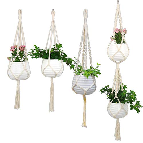 Yealsha Household Hanging Basket Plant Net Pocket HandWoven Decoration Fire Pit amp Outdoor Fireplace Parts