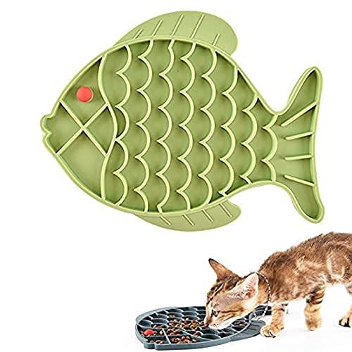 Xfahju Perro de Gato con Forma de pez con lamiendo Mascota, tazón de arroz para Mascotas