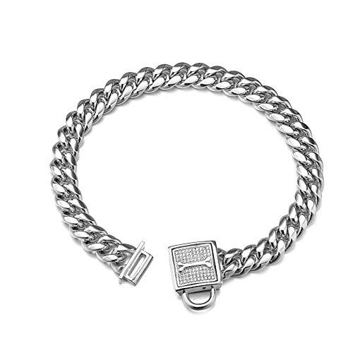 Aiyidi Dog Chain Collar, 12MM Heavy Duty Cuban Chain Collar, 316L Stainless Steel Silver Dog Training Collar with Bling Zirconia Lock Luxury Dog Necklace for Small Medium Large Dogs 8-24inch(10inch)