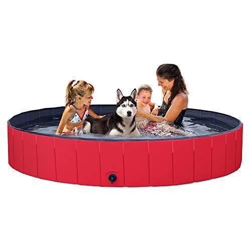 YAHEETECH Red Foldable Hard Plastic Kiddie Baby Dog Pet Bath Swimming Pool...