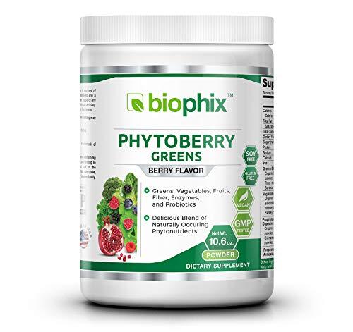 Phytoberry Greens Superfood Powder 10 oz - Natural Berry Flavor Greens Vegetables Fruits Fiber Probiotics Smoothie Shake Nutrition Drink