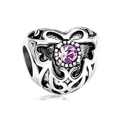 KunBead Heart Love June Birthstone Birthday Charms Best Friends Friendship Beads for Charms Bracelets