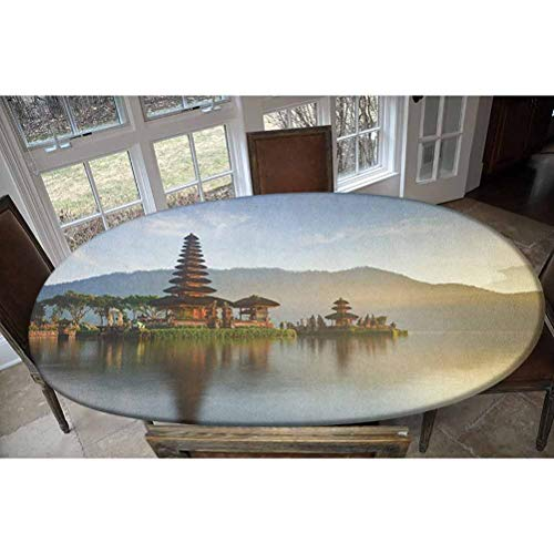 LCGGDB Pura Ulun Danu Panorama Sunrise on A Lake Bratan Bali Indonesia Waterscape - Mantel decorativo rectangular y ovalado para mesas de hasta 122 cm de ancho x 172 cm de largo