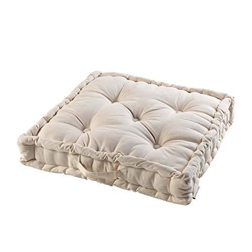 Cotone per interni, cuscino da pavimento, 60 x 60 x 10 cm, in cotone, tinta unita Panama lino