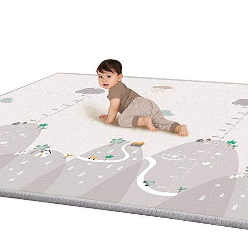 Krabbelmatte, Spielmatte XXXL mit Tier Doppelseitige Wasserdichte Kinderteppich Zusammenfaltbare Baby Gym, 200 * 180 * 1cm (grau)