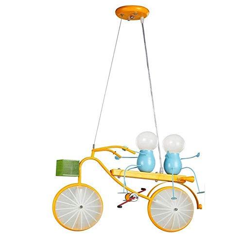 Kroonluchter, LED plafond licht verduisteren Children's Room Boy Room Ceiling Lamp Modern Creative Cartoon Metal Painted Bicycle Design Room Kroonluchter Verlichting