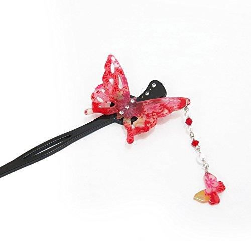 Bijou japonesa, kanzashi, picas de cabello, mariposa
