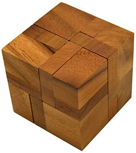 6 Pieces in a Cube - 3D Puzzle - Denkspiel - Knobelspiel - Geduldspiel - Logikspiel aus Holz