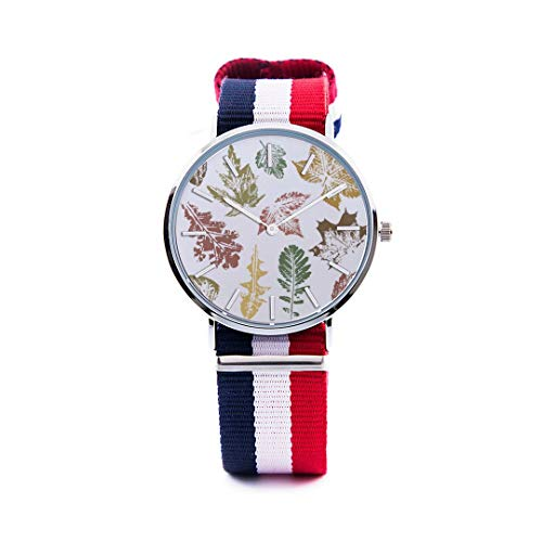 Unisex Fashion Watch Abstract Background Maple Leaf Aspen Leaf Pumpkin Autumn Design Print Dial Quartz Stainless Steel Wrist Watch with Nylon NATO Strap Watchband for Women 36mm Casual Watch -  NQEONR, 20190321-NylonWatch-344-151258676