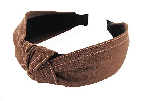 axy HR34J Baumwolle Haarreif mit Knoten und Genähte Linie - Vintage - Wunderschön Stirnband (Braun)