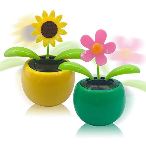 N/F Mokinga Wackelfigur Blume, 2 Stück Solar Tanzende Blume Solarblume Wackelfigur Wackelblume Solar Solarbetriebene Wackelblume für Auto Haus Oder Büro