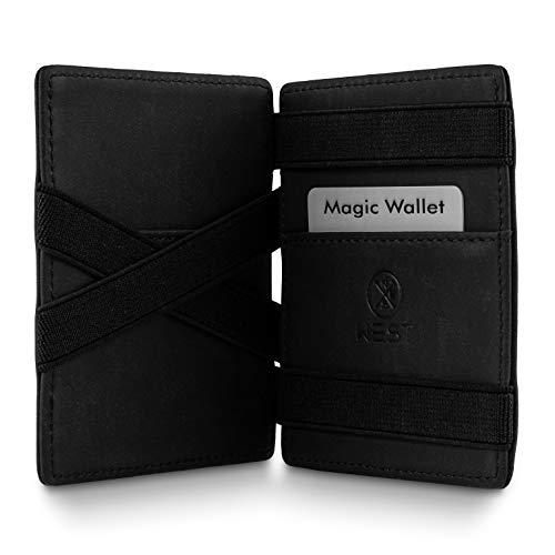 WEST - Magic Wallet (Schwarz) - Das ORIGINAL (kleines Münzfach) - inklusive Edler Geschenkbox - Geldbeutel mit Münzfach - Der perfekte Begleiter für unterwegs - RFID Datenschutz