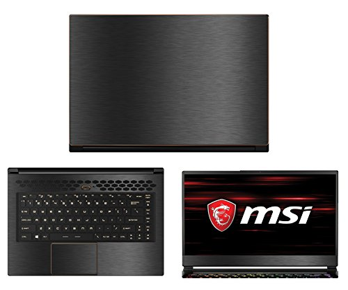 Decalrus - Protective Decal for MSI GS65 Stealth Thin 8RF (15.6' Screen) Laptop Dark Grey Texture Brushed Aluminum Skin case Cover wrap BAmsiGS65stealthTHINDarkGrey