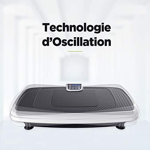 JUFIT Plateforme Oscillante Shaper Appareil d'entraînement avec 5 Programmes avec 2 Cordon Elastique-Surface énorme,Blanc