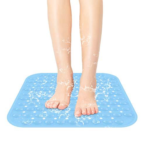 SIHOHAN Duschmatte, 47x47cm rutschfest Duscheinlage antibakterielle Badematte, Dusche Antirutschmatte mit Saugnäpfen, maschinenwaschbar Badewannenmatte (Blau)