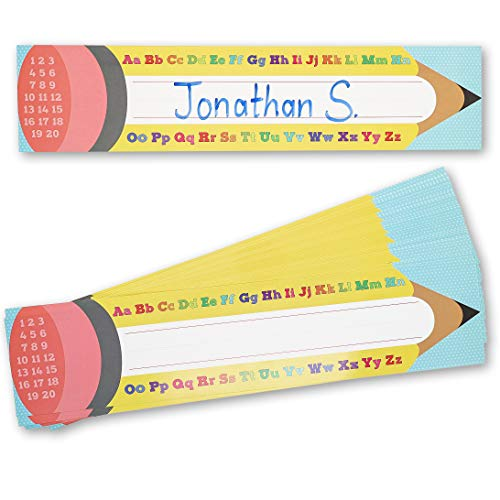 Classroom Name Tags, Pencil Design (17.5 x 4 in, 50-Pack)