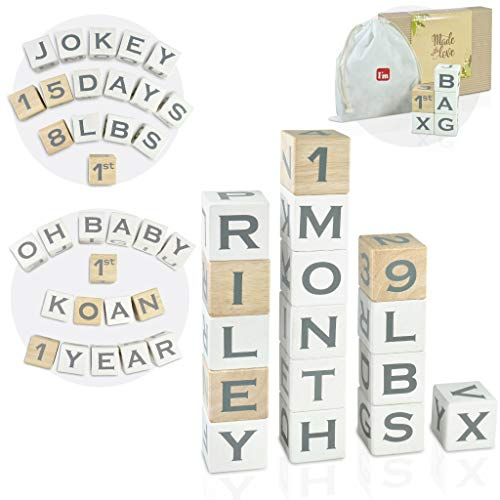 """I'm Solid Wood Baby ABC Alphabet Milestone Age Blocks, Personalized Own Name, Gender Neutral, Newborn Gifts & Keepsakes for Picture Props (1.9"""" / 16 Pcs / White)"""