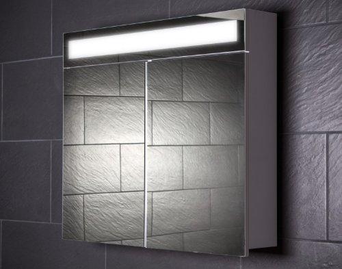 Galdem Spiegelschrank EVEN80 / Badezimmerschrank 80cm / 2 türig/mit Beleuchtung T5 Leuchtstofflampe/Softclose Funktion/Steckdose / Badezimmer Spiegel auch al