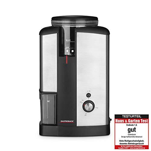 Gastroback 42602 Design Kaffeemühle Advanced, Edelstahl-Hochleistungsmahlwerk mit 32 Feinheitsgraden, 130 Watt, silber, schwarz