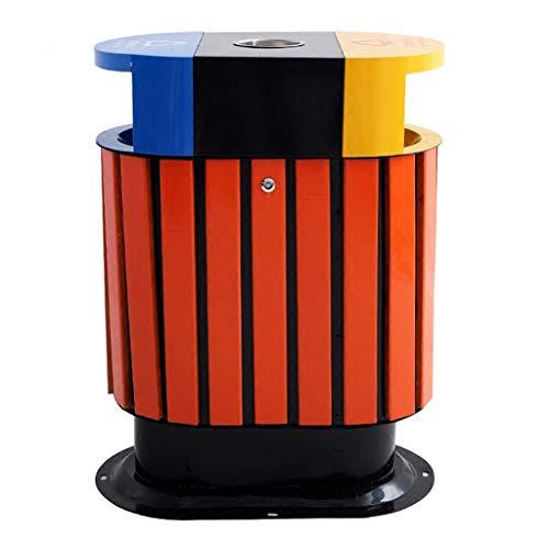 Yuanjiashop Botes de Basura Exteriores Contenedor de Basura de Tres Colores de clasificación de Barril Doble Papelera con Tapa y cenicero for la Escuela al Aire Libre del Parque Papelera de Reciclaje