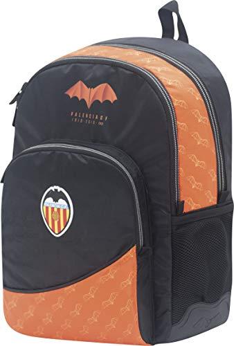 Mochila Valencia CF Centenario Doble Cuerpo Adaptable a Carro y Refuerzo Extra Color Negro y Naranja 32x44x14 cm