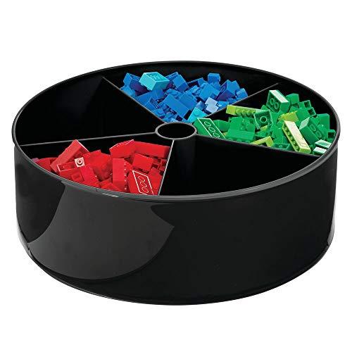 mDesign Cesta organizadora con plato giratorio – Caja de almacenaje rotatoria en 360° para cuarto infantil y hogar – Útil bol giratorio con 5 compartimentos para juguetes o pinturas – negro