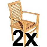 ASS ECHT Teak Holz Design Gartensessel Gartenstuhl Sessel Holzsessel Gartenmöbel sehr robust Alpen, Größe:2 Stück