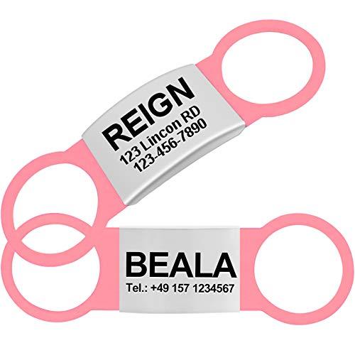 TagME 2 Paquete Etiquetas de Identificación de Acero Inoxidable Para Perros y Gatos / Placa de Identificación Silenciosa Grabada con Nombre y Número de Teléfono, Rosa, XL