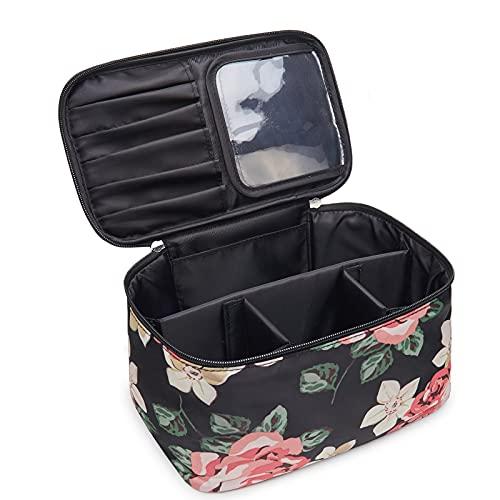 Travel Makeup Bag Large Cosmetic Bag Make up Case Organizer for Women and Girls (Large, Black Flower)