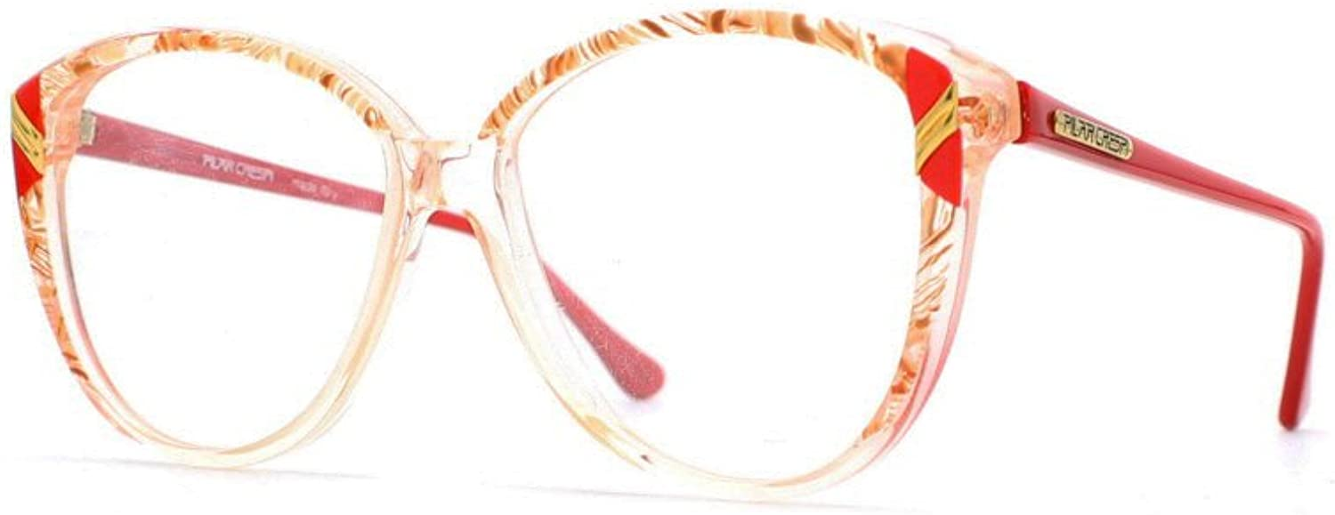 Pilar Crespi 606 DR1 Red and Yellow Authentic Women Vintage Eyeglasses Frame