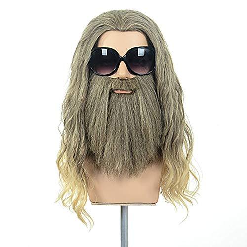Peluca larga y rizada con barba larga Garibaldi para hombres Disfraz de Halloween Cosplay Peluca de fiesta de anime Marrón y rubio mezclado