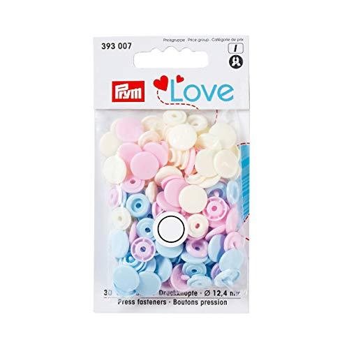Prym 393 007 LOVE Druckknöpfe  rosa,hellblau,perle