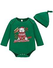 puseky Bebé recién Nacido Niños Niñas Mi Primer Mameluco navideño Trajes y Diadema My First Christmas