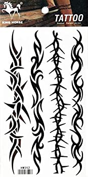 PP TATTOO 1 Sheet Vintage Barbed Wire Creeper Vine Waterproof Tattoos Stickers Pattern Style Henna Make up Neck Shoulder Upper arm Thigh Body Art Tattoo for Women Men Sexy Fake
