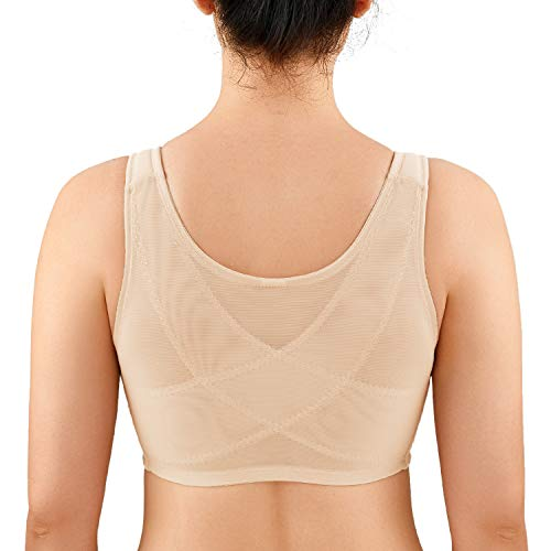 LAUDINE Women's Full Coverage Front Closure Wire Free Back Support Posture Bra Beige 38F