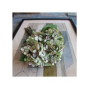 Misscany 7 Colours 1Bunch/3Pcs Artificial Flower Fake Snowball Hydrangea Bouquet Christmas Wedding Arrangement Home Decoration,Green