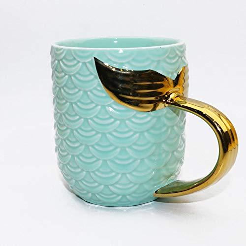 J.AKSO Taza de cerámica de Cola de Sirena Dorada con asa, té Creativo, café, Leche, Taza Personalizada, Taza de Cola de pez, Regalo novedoso (01)