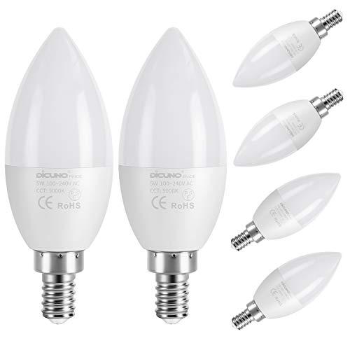 DiCUNO ProOE B11 E12 Bombilla LED Candelabro 5W, Equivalente a 40W halógena, Bombillas de protección ocular, Alto CRI 98+, Luz blanca...